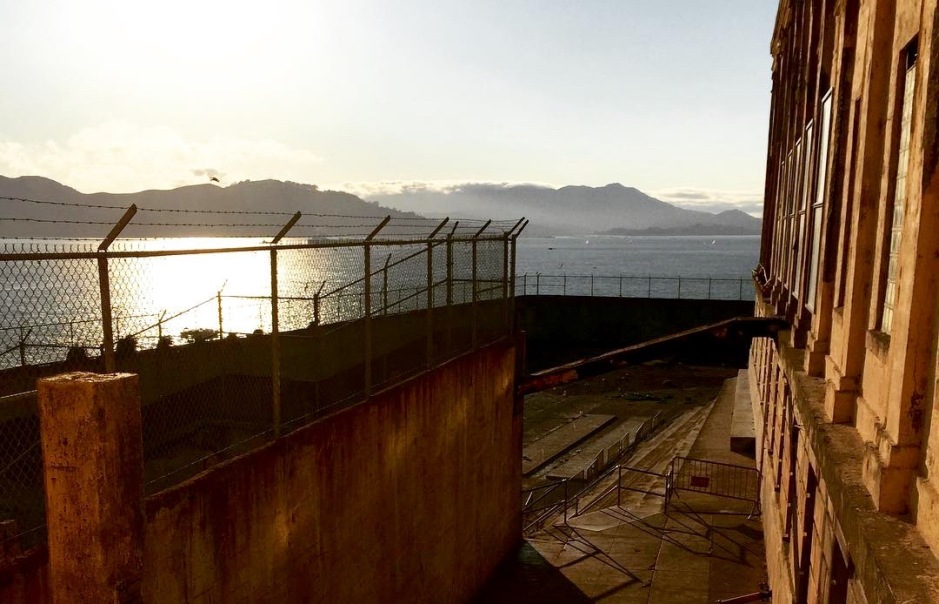 The recreation yard at Alcatraz