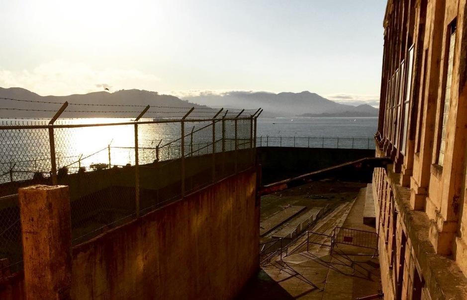 The recreation yard at Alcatraz